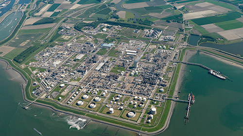 aerial image of treatment plant surrounded by water