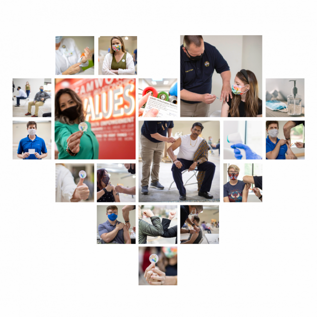 several images of people receiving the COVID-19 vaccine, shaped as a heart