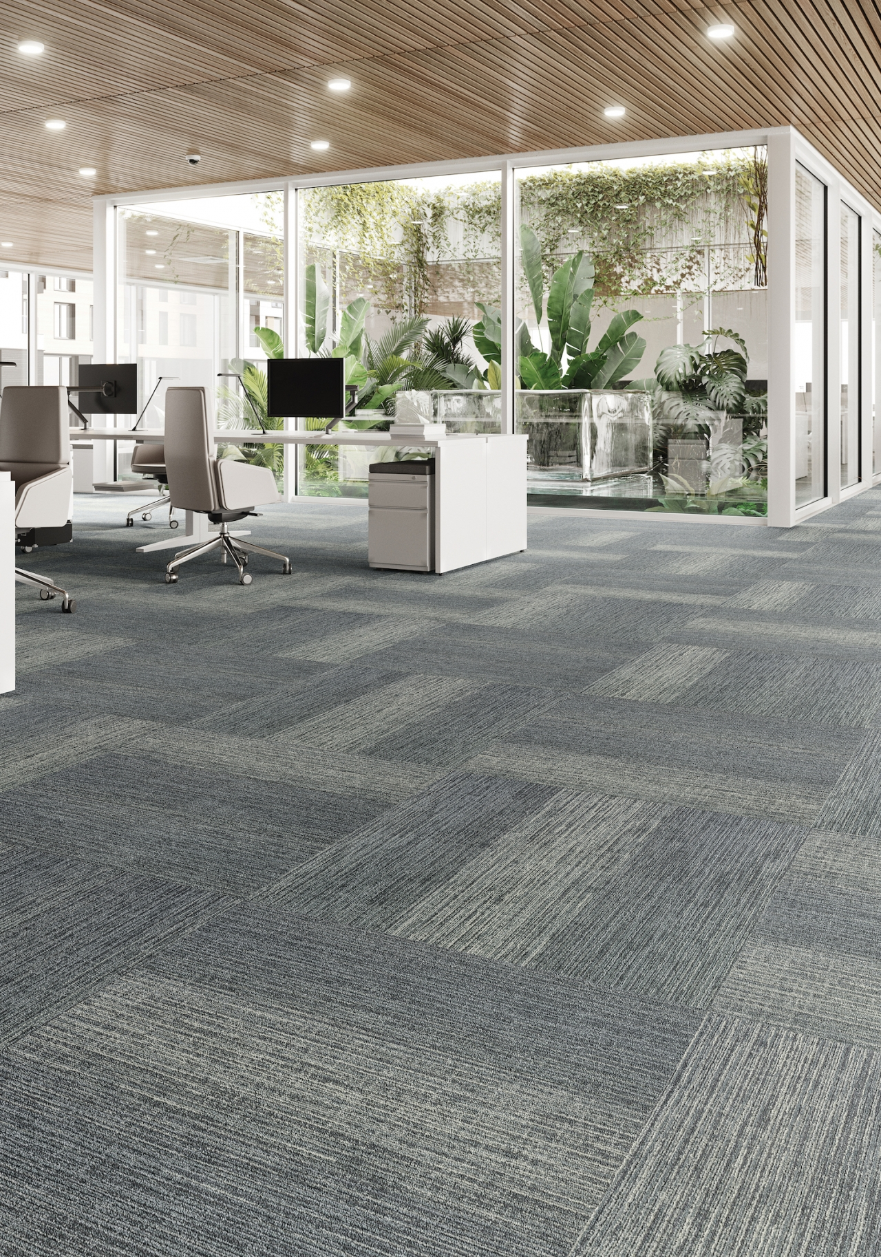 Data Tide tiles as flooring in an office space