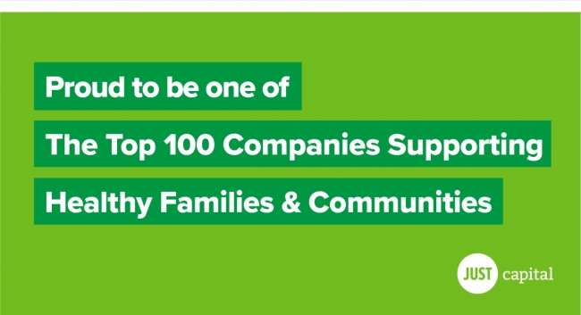 Proud to be one of the top 100 companies supporting healthy families and communities on a green background