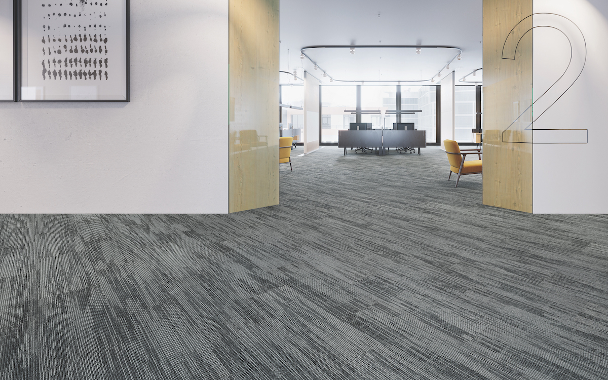 EnviroStrand Mohawk Group Infinite Impact carpet plank Polished Pewter