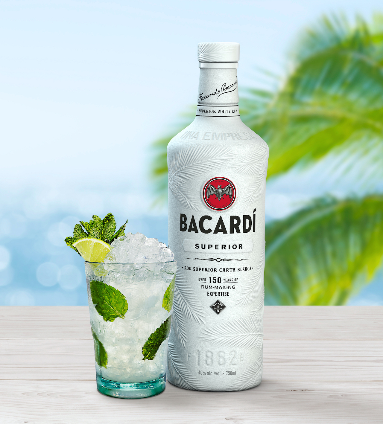 Bacardi bottle and drink
