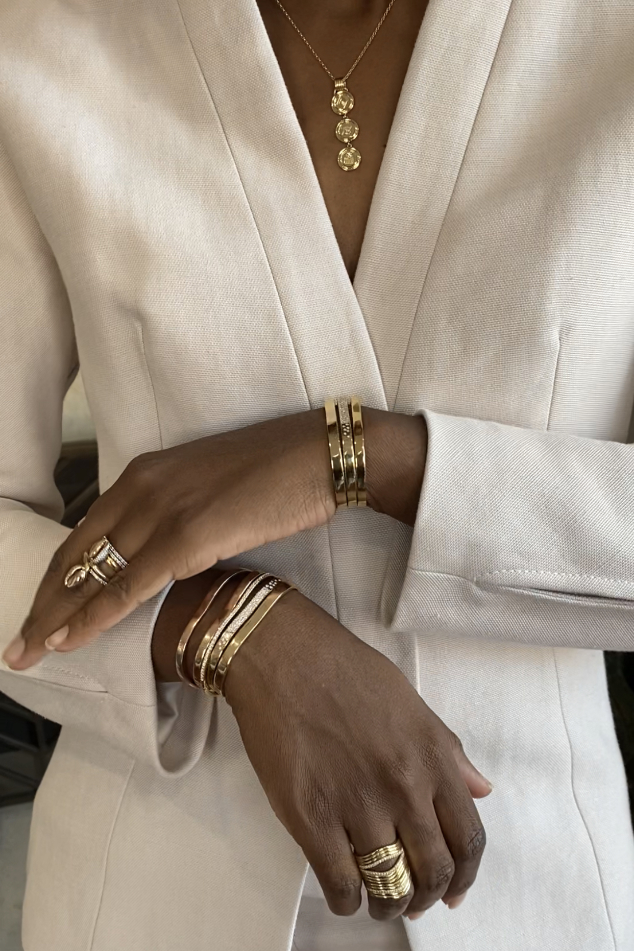 """""""How I Wear It:"""" Catherine Sarr, jewelry designer and founder, Almasika. Image, courtesy, Natural Diamond Council, published in Jill Newman, """"This is how jewelry designer Catherine Sarr of Almasika styles her diamonds,"""" February 26. 2021."""