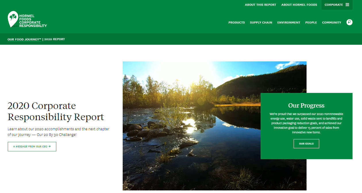 front page of 2020 Corporate Sustainability Report