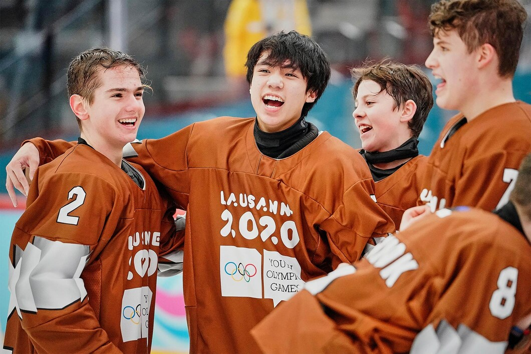young athletes celebrate together