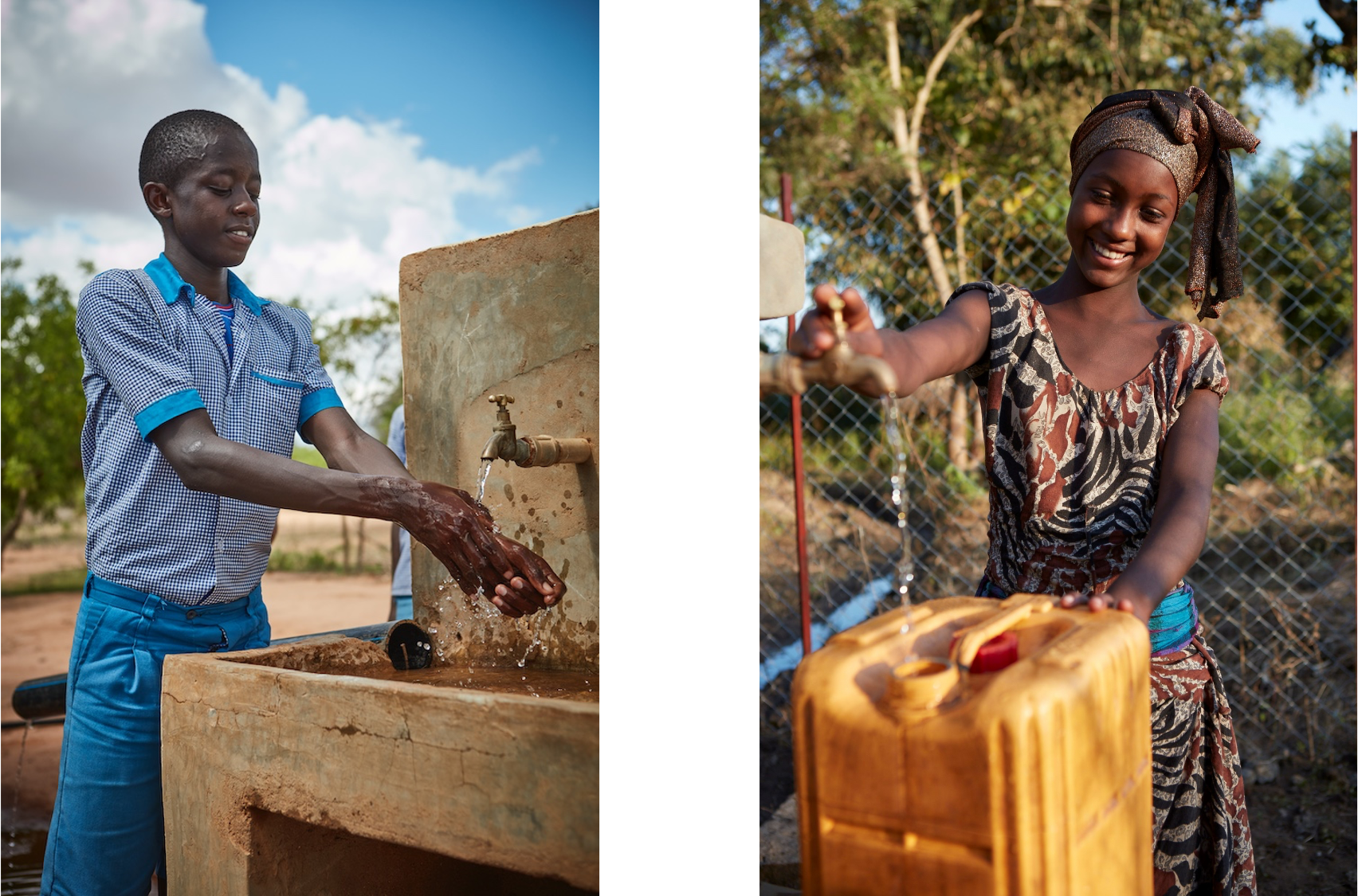 (Left) A student from Kitui West in Kenya washes his hands in a school with improved water access as part of the project executed by Amref Health Africa. Photo: Rooftop / GETF (Right) A girl from Bambasi collects water from a community water station built as part of a program executed to increase community resilience in the Woalita and South Omo zones of Southern Ethiopia, and implemented by iDE. Photo: Rooftop / GETF