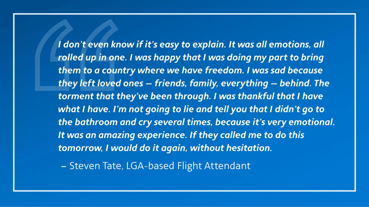 Quote from Steven Tate, LGA-based flight attendant
