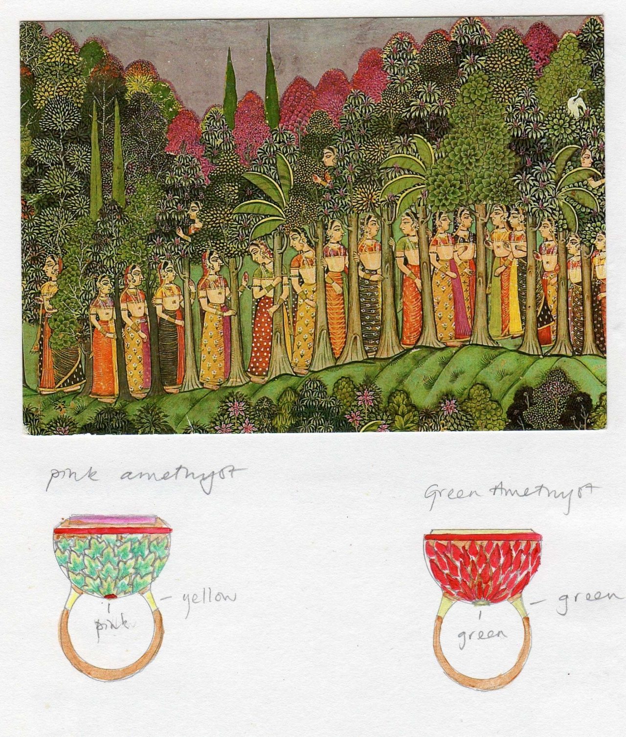 Ancient Indian Art which that has served as inspiration for Alice Cicolini's work coupled with her drawings for 22-kt gold meenakari enameled rings to be made in Jaipur. Reproduced in Bejeweled: The World of Ethical Jewelry (K Roderick, Rizzoli 2019, p. 17.