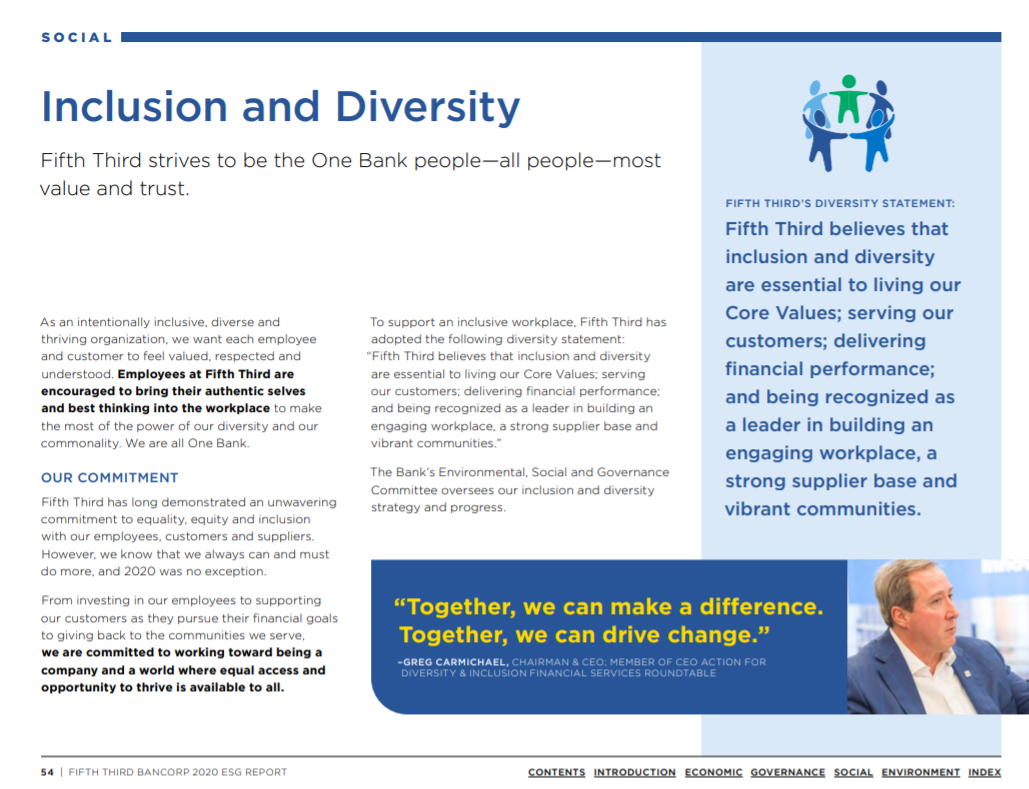 """Page reading, """"Inclusion and Diversity: Fifth Third strives to be the One Bank people—all people—most value and trust"""""""