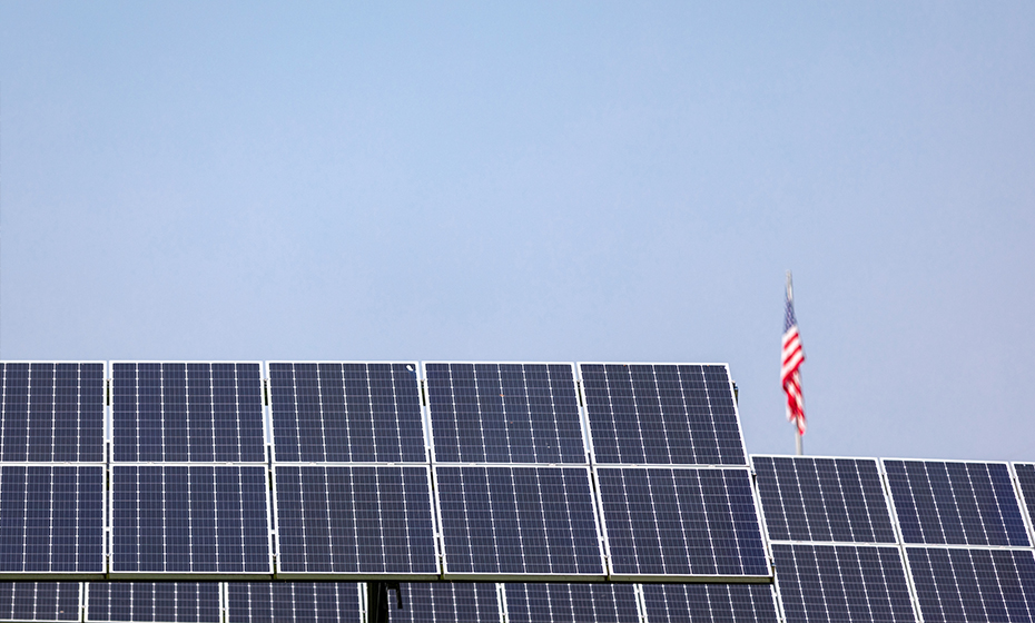 Solar field and American flag