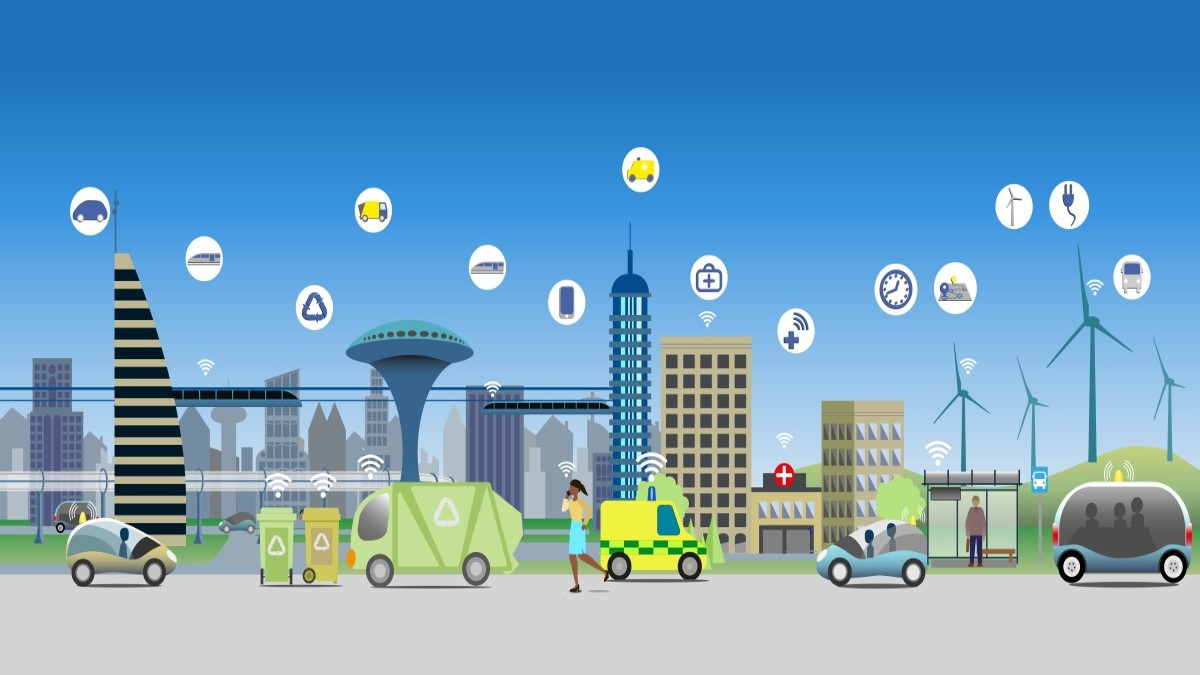 Illustration of a city with many 5G devices in use
