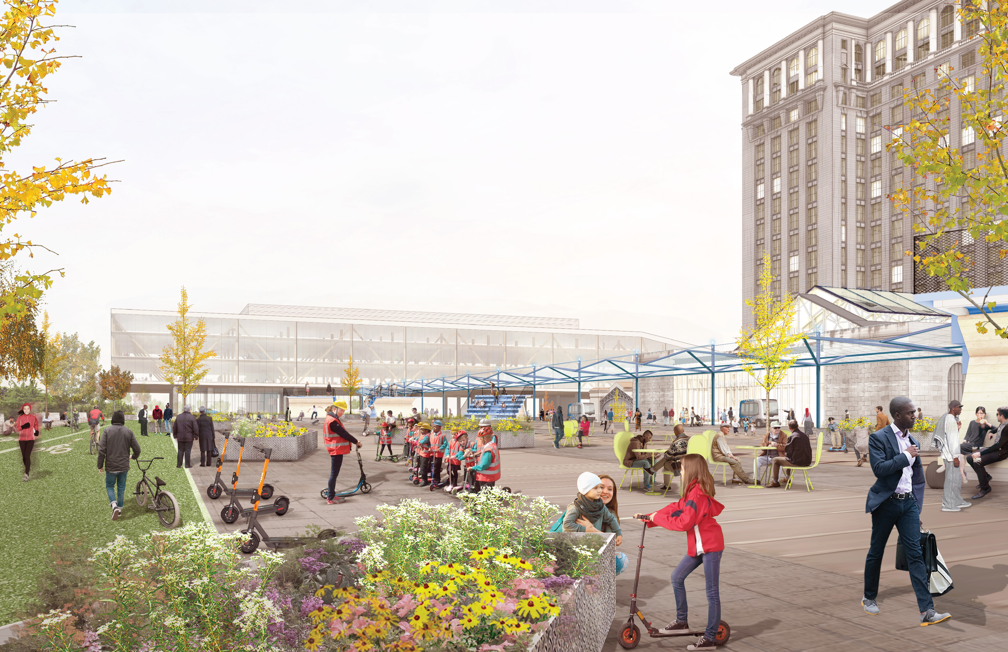 At Michigan Central Station, Abandoned roadways and railyards will give way to public spaces