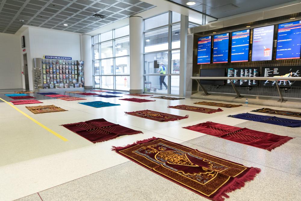 prayer mats in an airport