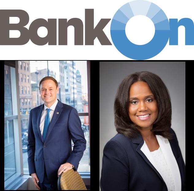 Bank On logo with Headshots