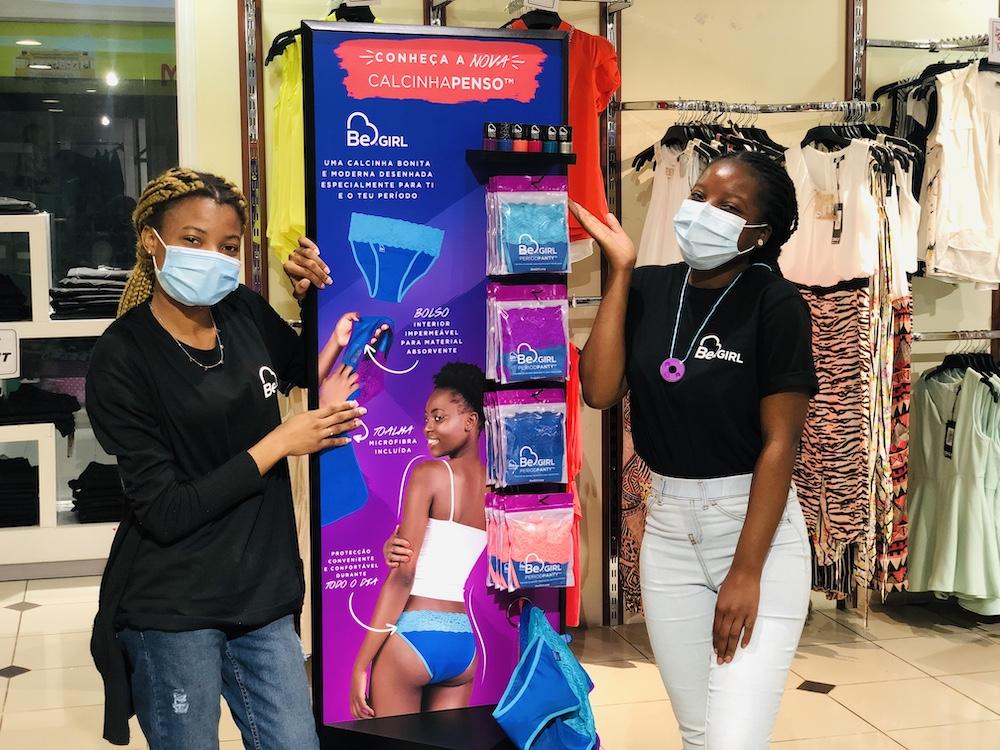 Be Girl - in store at Intermoda Maputo Mozambique - break down stigma about menstruation with fun products