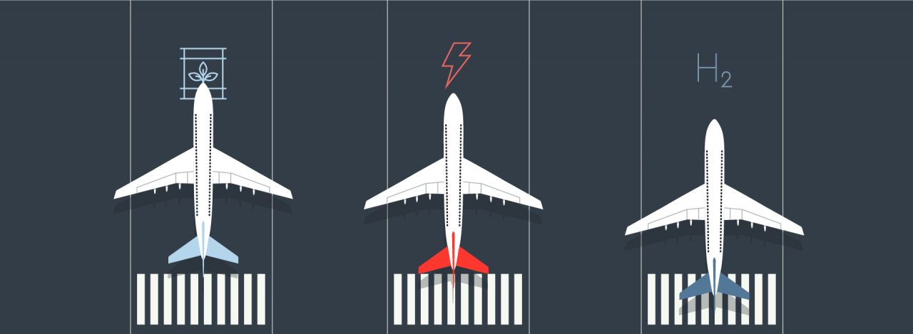 illustration of three airplanes