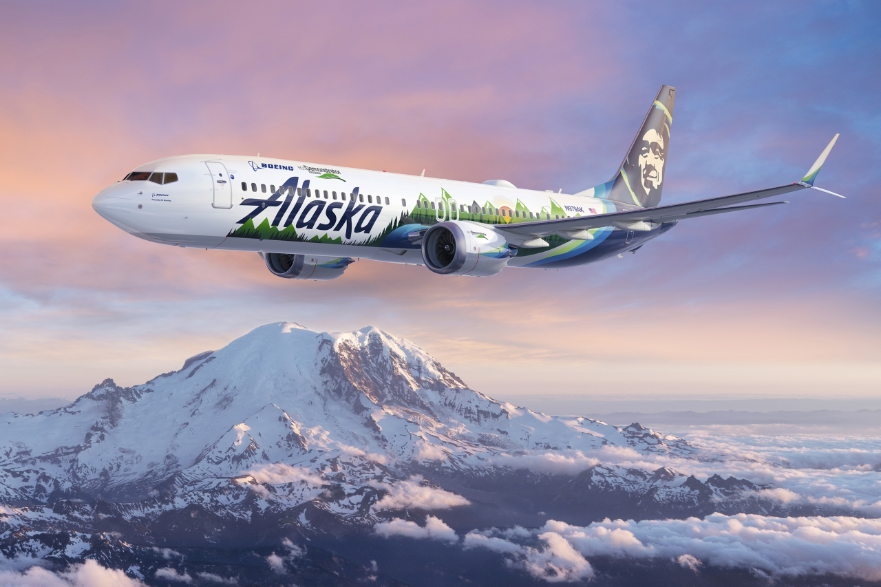 Alaska Airlines plane in the sky