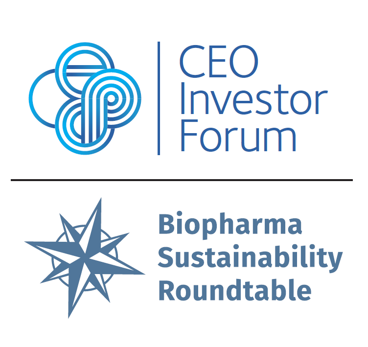 CEO Investor Forum logo and Biopharma Sustainability Roundtable logo