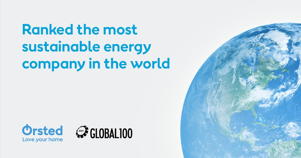For the third year in a row, Ørsted is ranked the world's most sustainable energy company in the Global 100 index by Corporate Knights (Photo Credit: Ørsted).