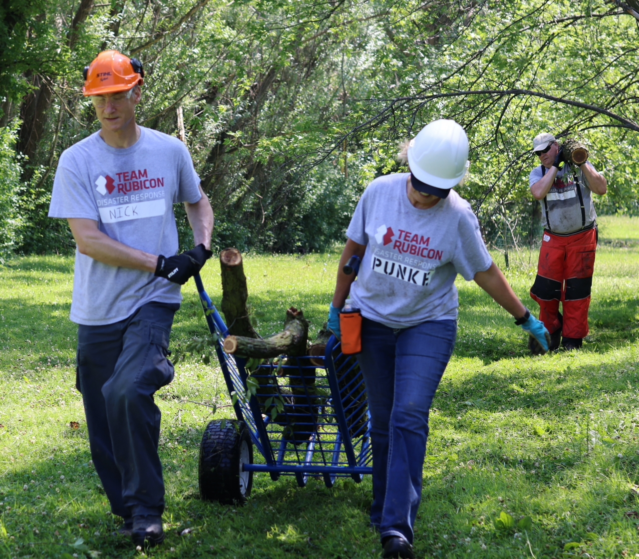 Volunteers cleared tree debris and cut down trees that posed a safety concern