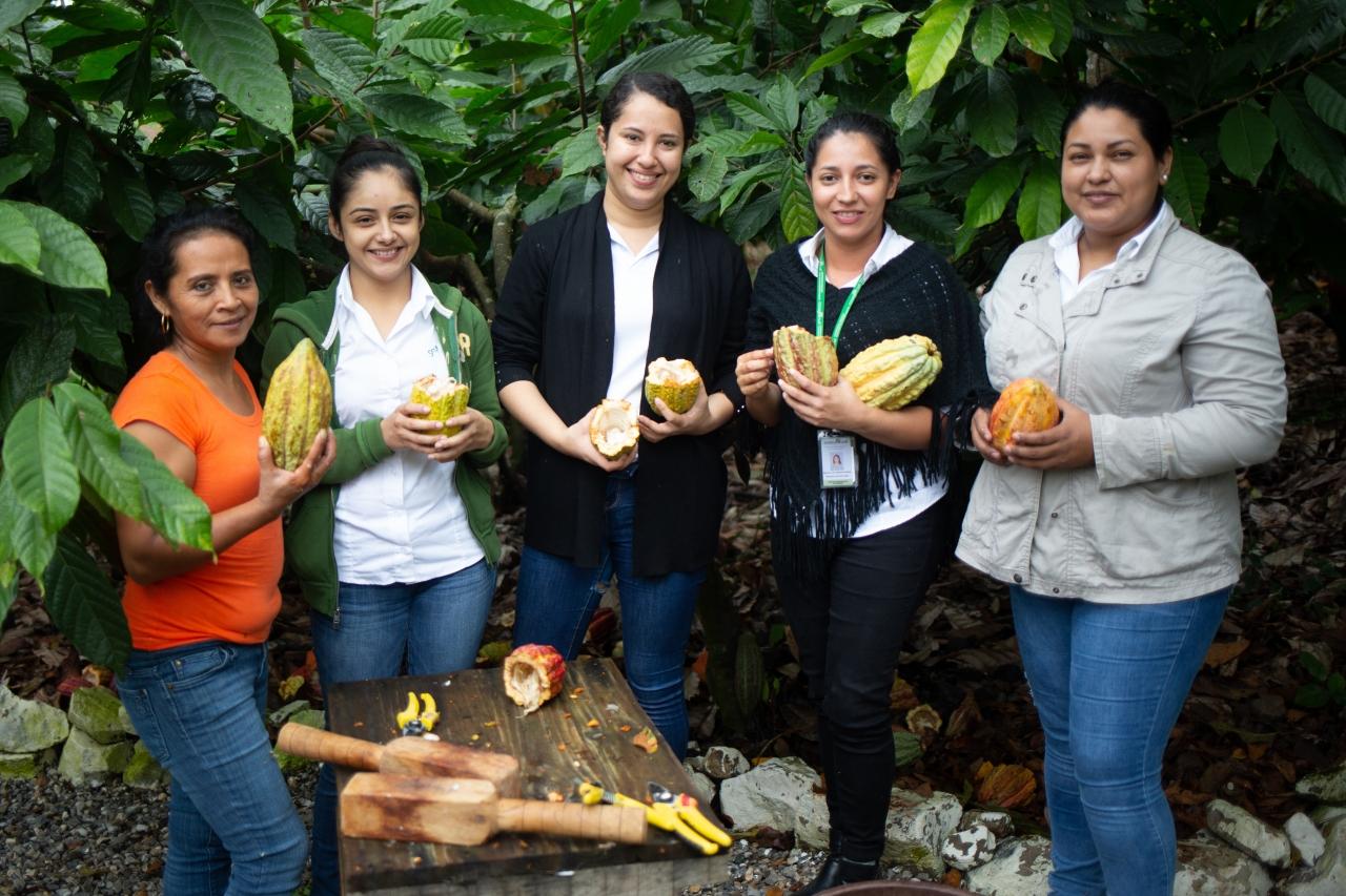 Rosa Maribel Cortes, Julibee Portillo, Alejandra Lemus, Julissa Medina and Sandra Buezo all work at the Xol chocolate factory in Honduras.