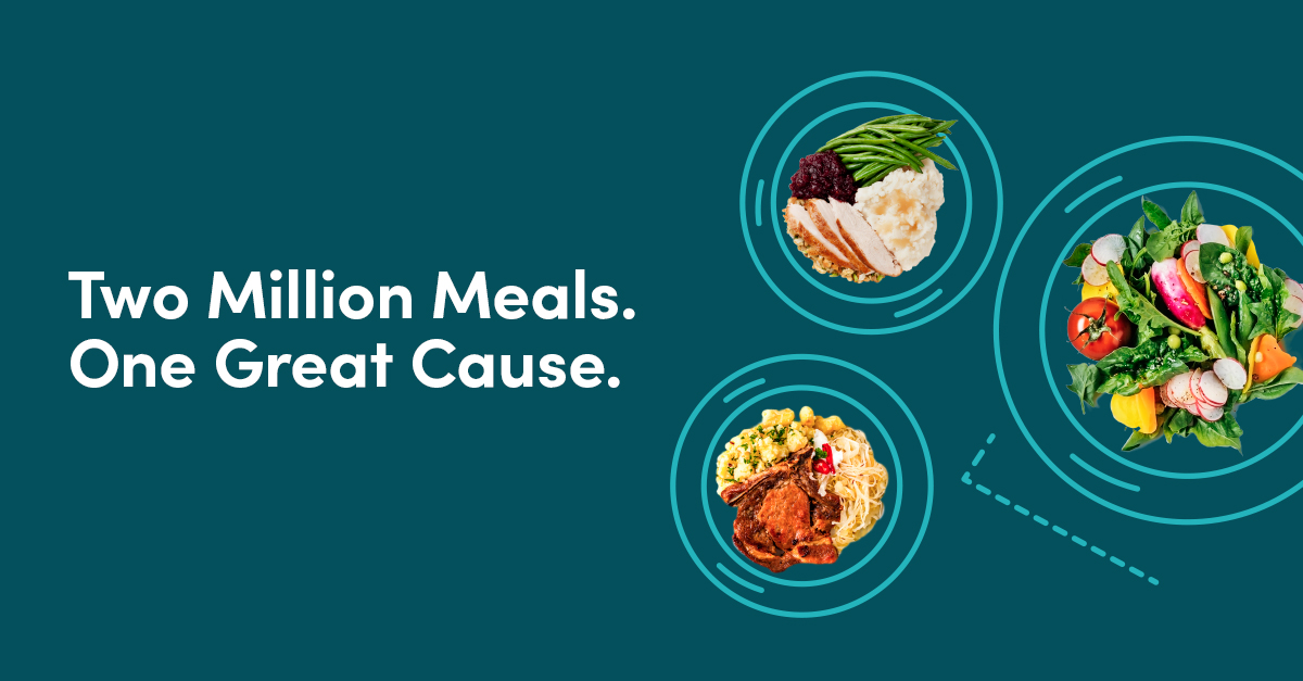 "Banner image reading, ""Two Million Meals, One Great Cause"""
