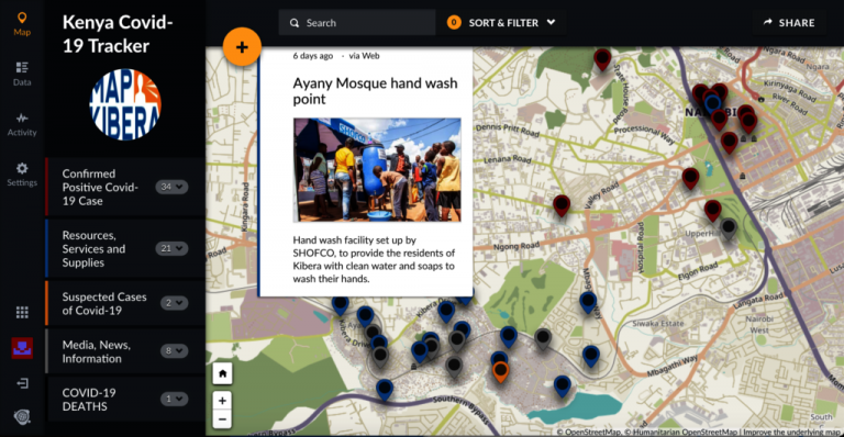 Map of Kenya with COVID tracker
