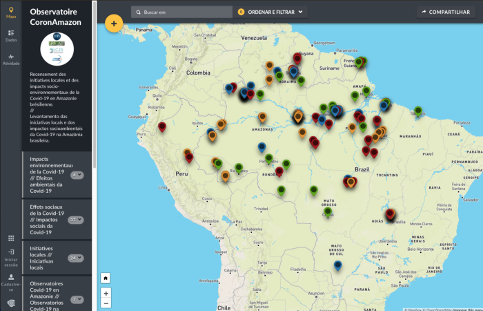 Map of South America with COVID tracker
