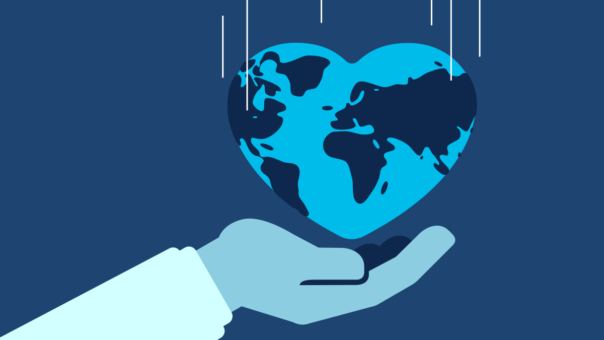 Illustration of hand streched out with Heart shaped Earth above it