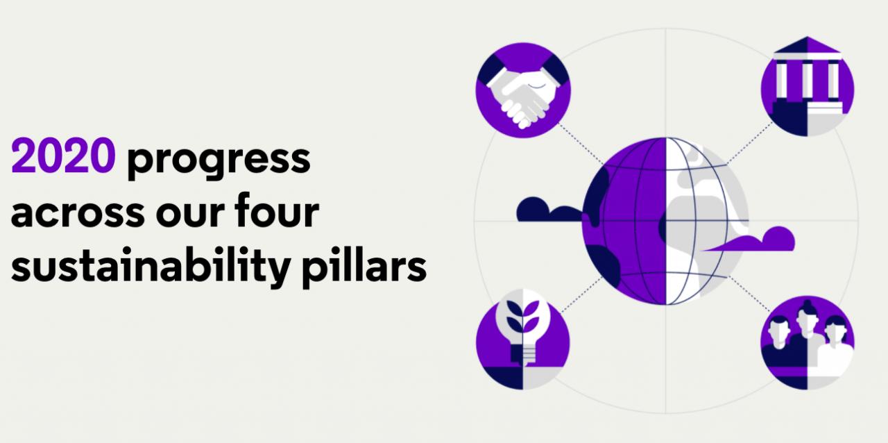 2020 progress against four sustainability pillars