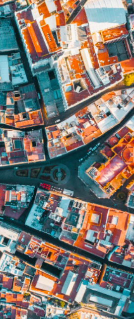 birds eye view of building roofs