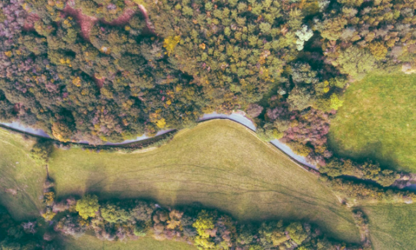 birds eye view of a river flowing through a field