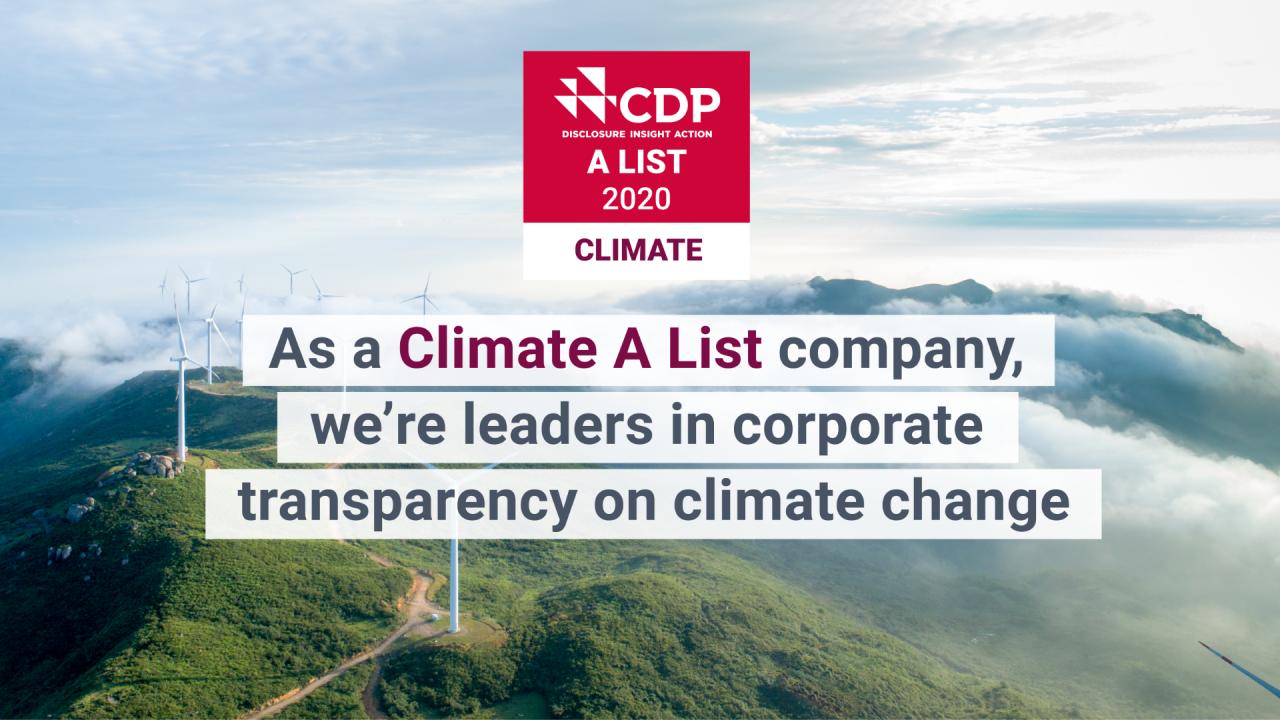 CDP 2020 Climate A List Award Image
