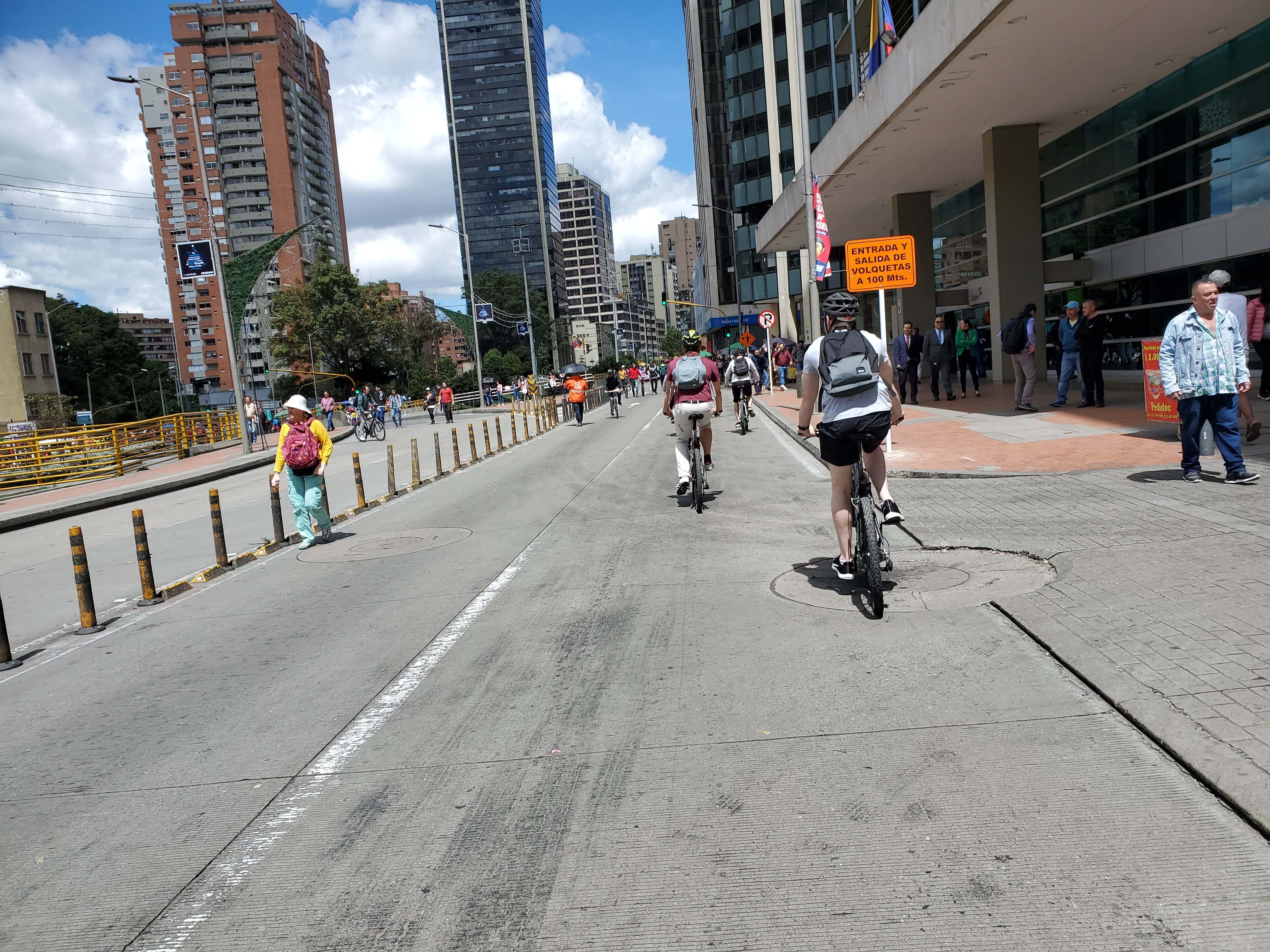 Cycling is safe in Bogotá , as the city has an ever-expanding bicycle lane network