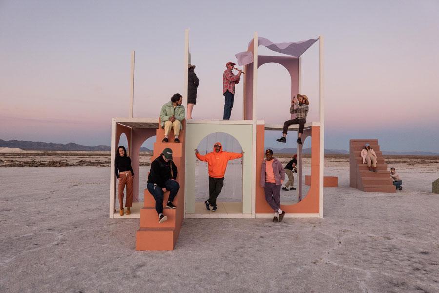 People on beach playground