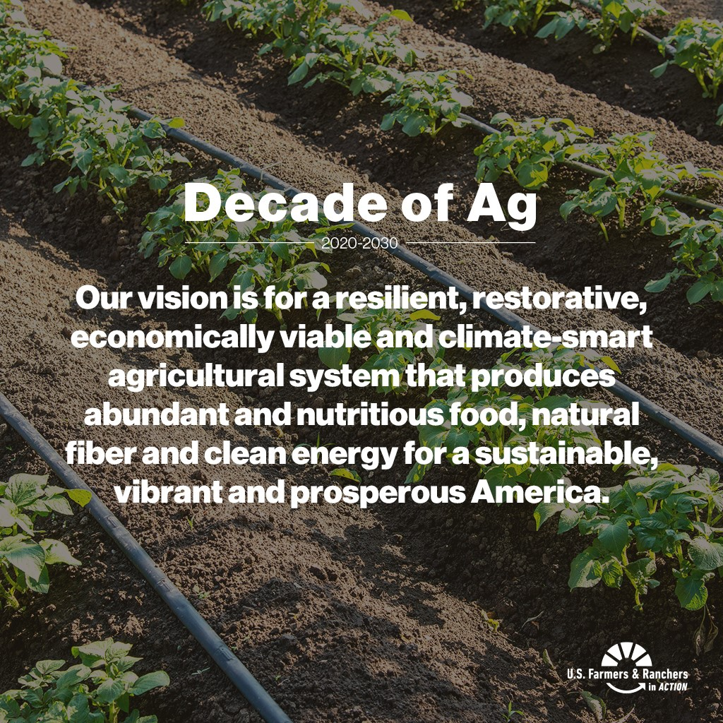 Decade of ag banner image showing agricultural fields
