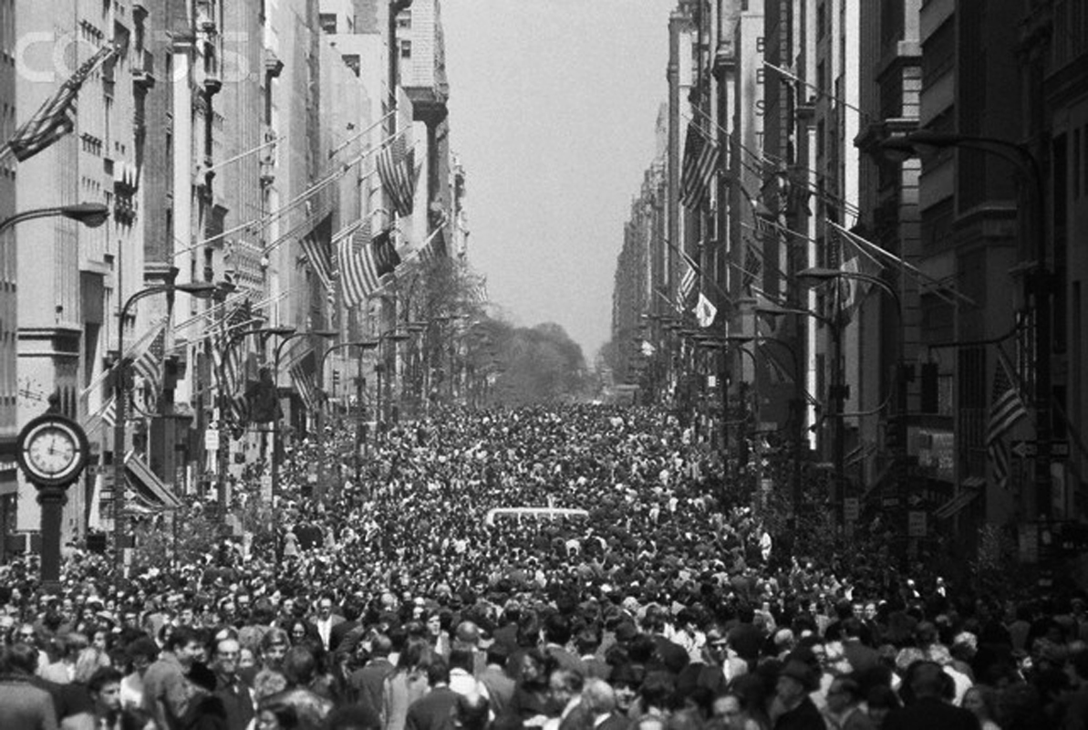Earth Day human traffic jam Fifth Avenue New York City 1970