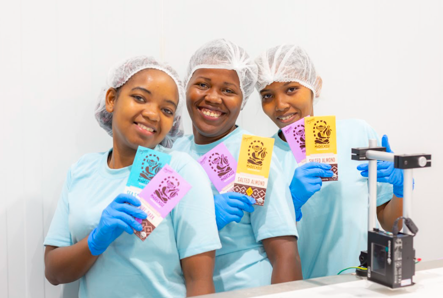 Employees at Beyond Good's chocolate factory