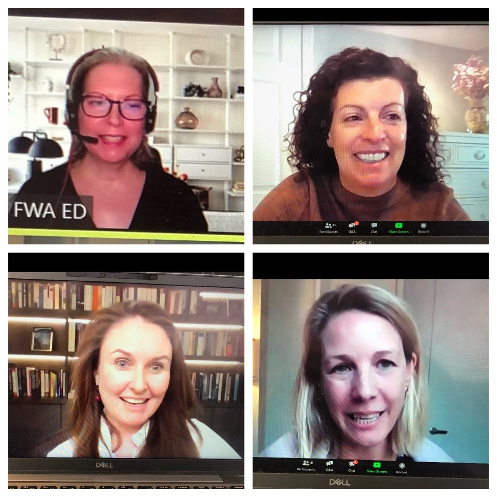 FWA's International Women's Day Panel for Mentees, clockwise: Ria Davis, FWA ED, Cynthia Holahan, Ninety One Head of Marketing NA, and Ninety One Keynotes: Katherine Tweedie, Country Head, Canada and Deirdre Cooper, PM and Decarbonization Expert