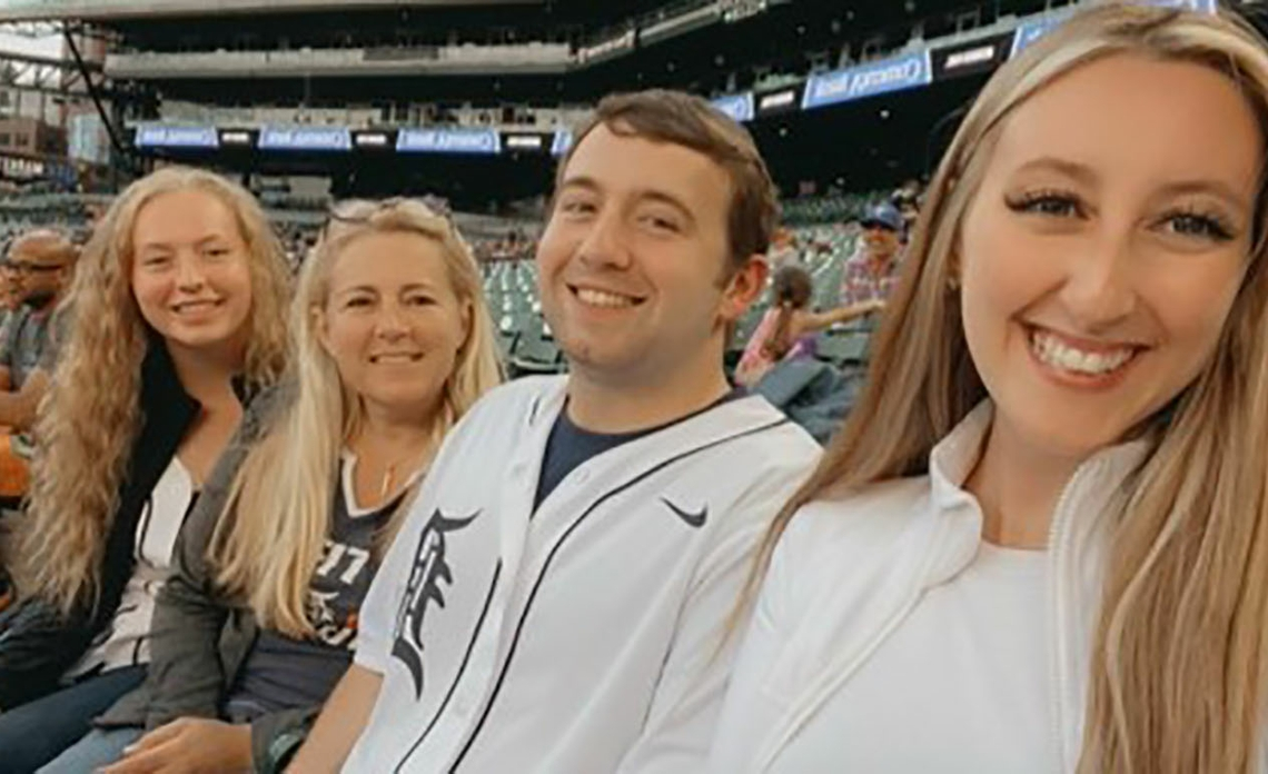 Heather Rivard and her family attend a Detroit TIgers baseball game.