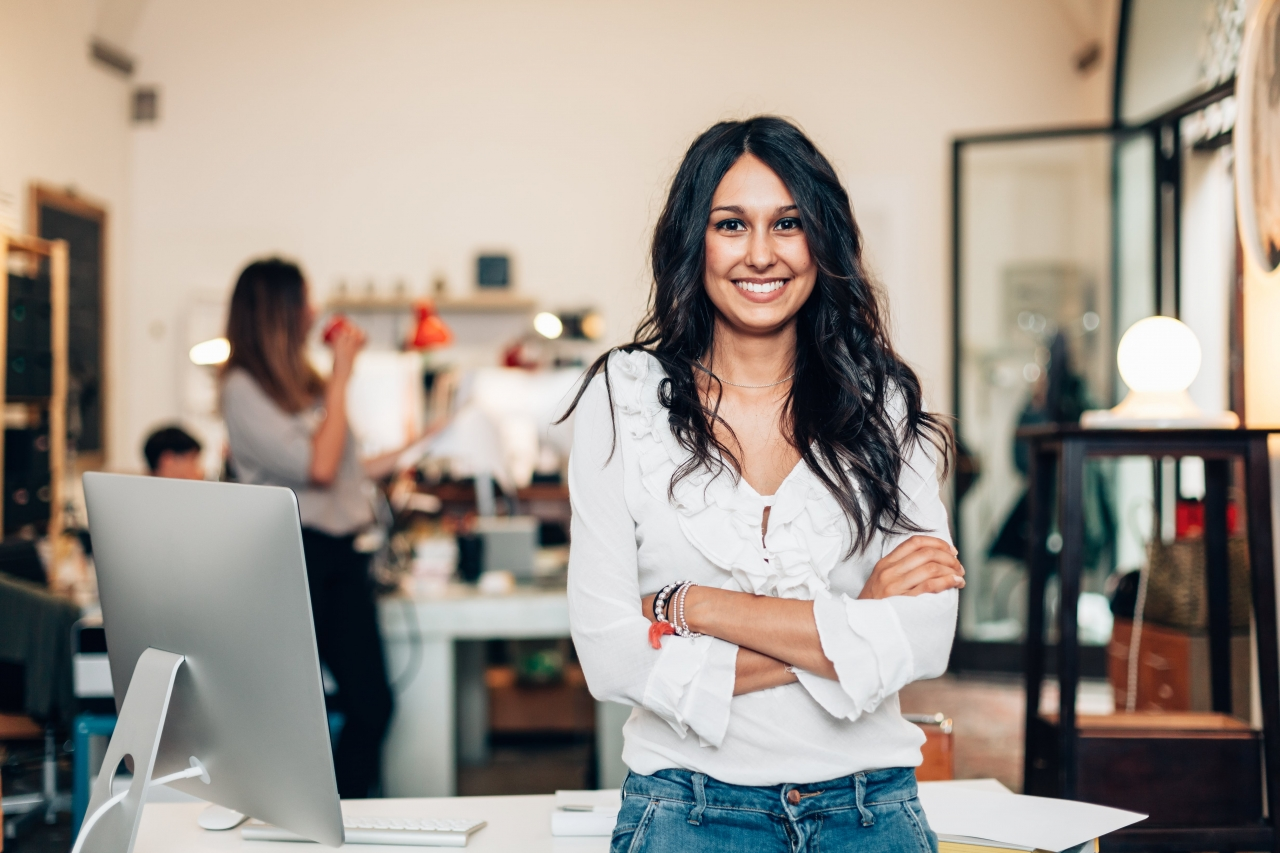 image of a young woman in office