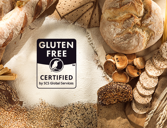 """Image of bread with """"gluten free certified"""" logo"""