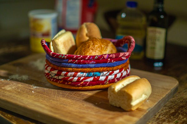 sari wrapped bread basket holiday gift