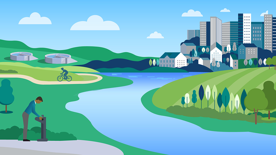 cartoon image of city, parks, and bicycle path