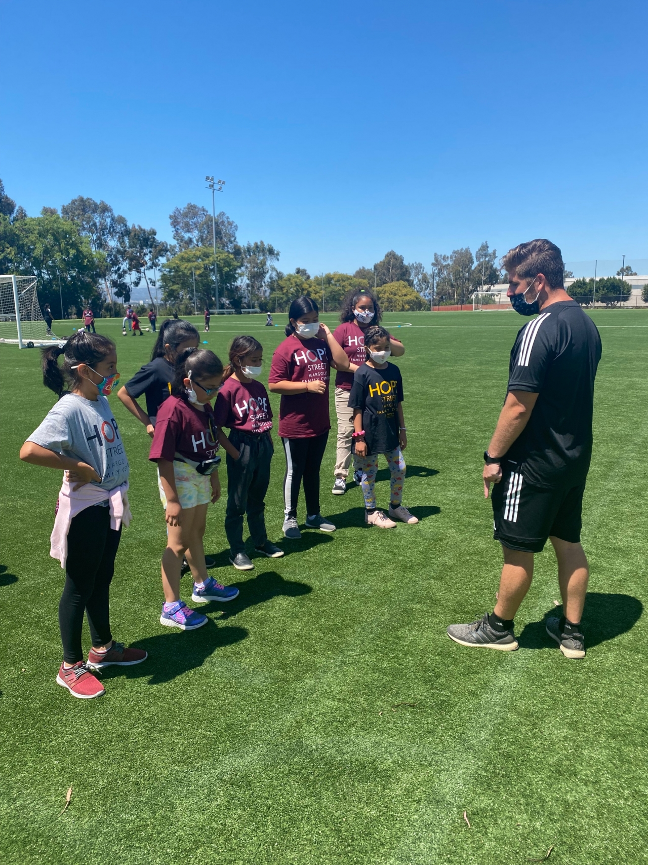 Youth participants enrolled in the Hope Street summer program spend the afternoon enjoying a specially designed LA Galaxy Youth Soccer Clinic, working directly with club coaching staff and LA Galaxy mascot Cozmo at Dignity Health Sports Park on July 9, 2021.