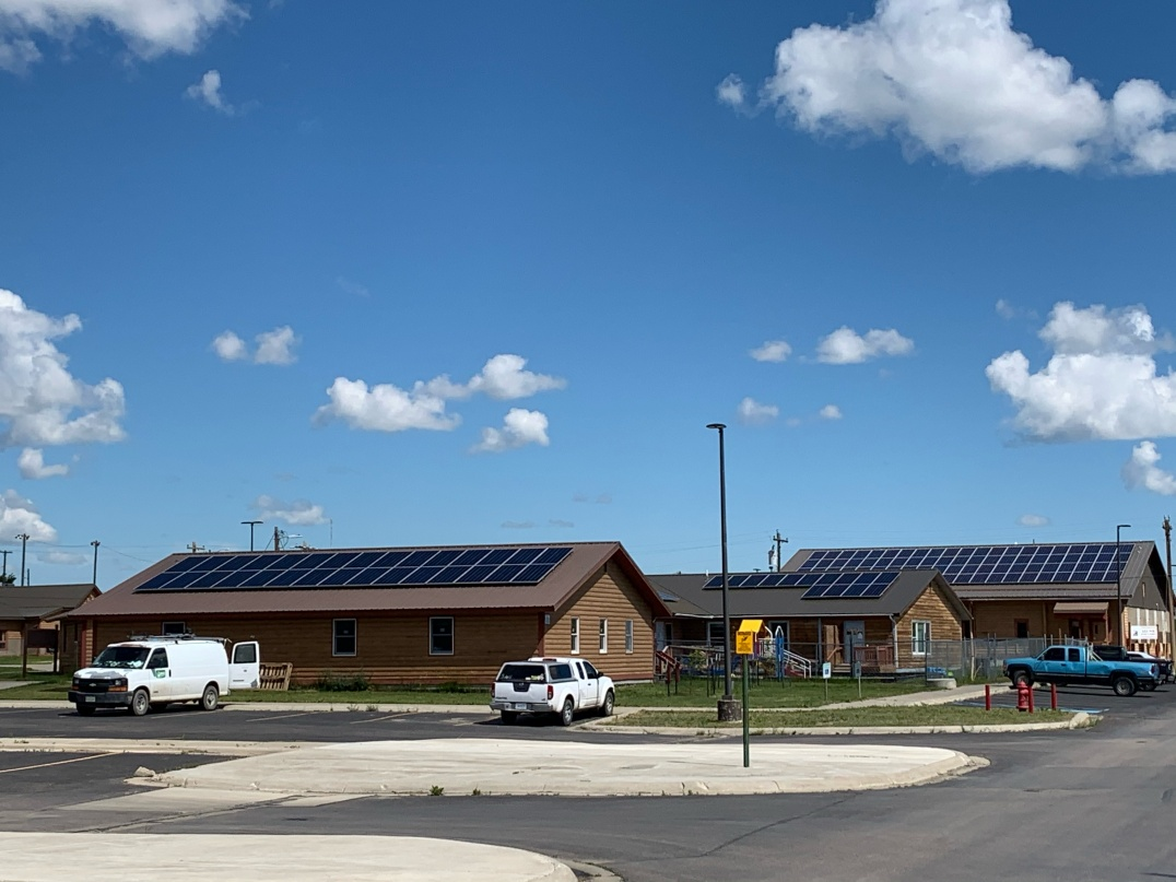 solar panels on building roofs