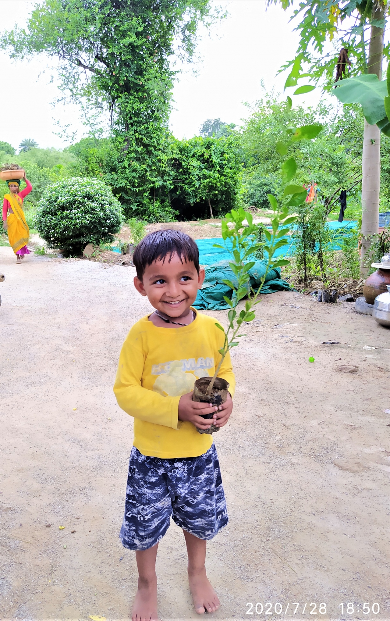 child holding a young plant