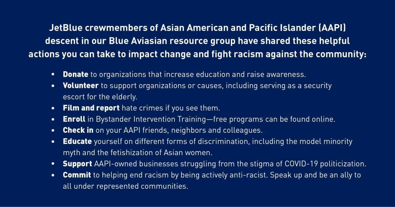 Jet Blue AAPI statement on dark blue background