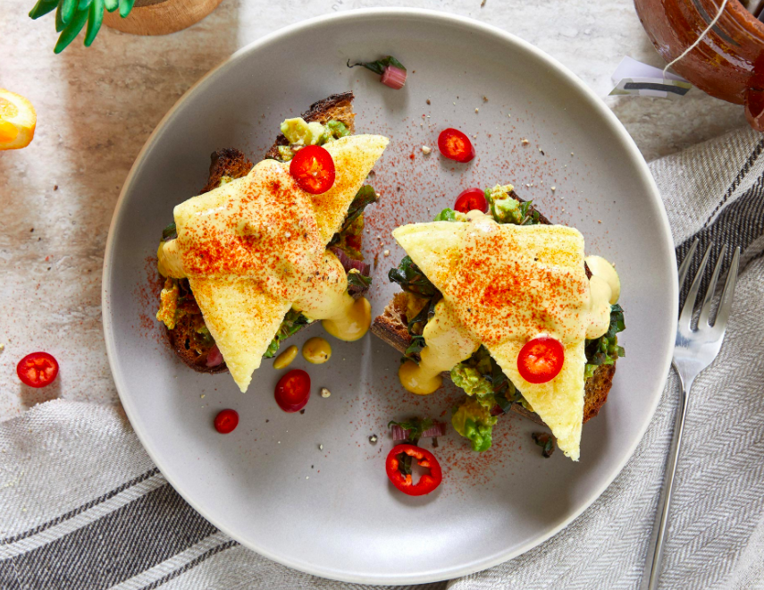 Few of us would be this fancy at 7:00 a.m.; regardless, Just has a winner with these egg alternatives