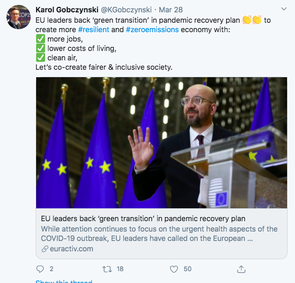 European Green Deal tweet